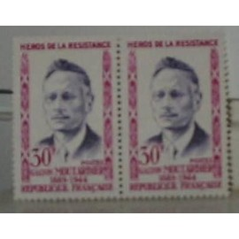 Timbre  France Neuf 1959 Bloc 2 timbres Gaston Moutardier . Yvert 1202