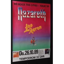 NAZARETH - Tour'89 - We Rock The Cities +Lee Aaron - AFFICHE / POSTER envoi en tube - 59x84cm