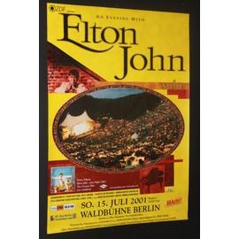 Elton John - Solo 2001 Berlin Yellow/Black - AFFICHE / POSTER envoi en tube - 59x84cm
