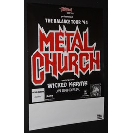 Metal Church - Metal Church + Wicked Maraya - The Balance Tour 1994 Orignal Concert Blank Tour Poster - AFFICHE / POSTER envoi en tube - 59x84cm