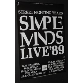 Simple Minds - Simple Minds - Street Fighting Years 89' Tour Dates Poster - AFFICHE / POSTER envoi en tube - 59x84cm
