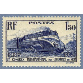 """france 1937, 13ème congrès intenational des chemins de fer à paris, bel exemplaire yvert 340, locomotive """"pacific"""" carénée, neuf*"""