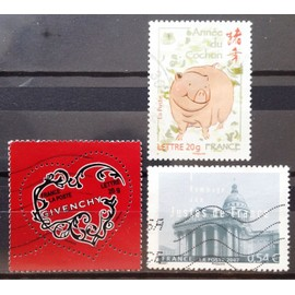 France - Saint-Valentin - Coeur Givenchy (N° 3996) + Panthéon - Hommage aux Justes de France (N° 4000) + Année du Cochon (N° 4001) Obl - Année 2007 - N16458