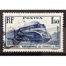France - Chemins de Fer Locomotive Pacific carénée 1f50 outremer (Joli n° 340) Obl - Cote 8,50€ - Année 1937 - N16559