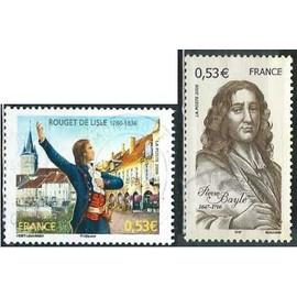 france 2006, beaux exemplaires yvert 3901 pierre bayle écrivain et philosophe, et 3939 rouget de lisle chantant la marseillaise, oblitérés, TBE
