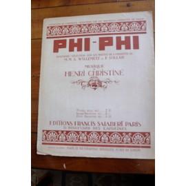 PHI-PHI  Henri Christiné,  fantaisie-sélection pour Piano