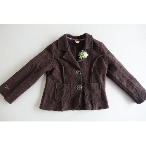 Manteau veste blazer ikks en laine marron gros boutons 5 ans 33d2936defa