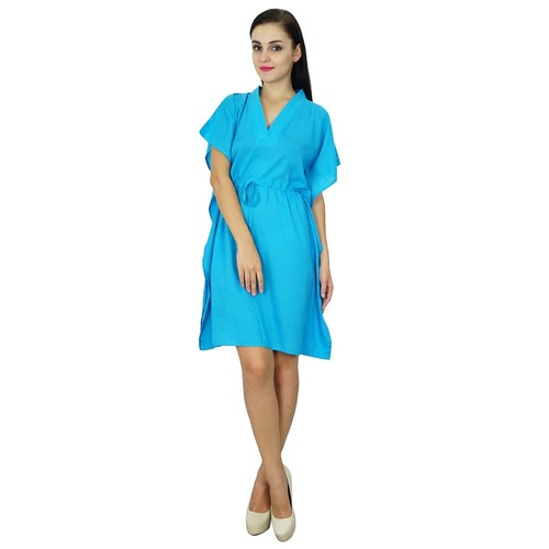 Bimba des femmes de plage robe caftan plaine couvrir caftan solide en coton  bleu 8daac21247e