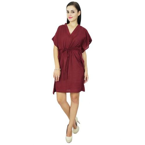 Bimba des femmes de plage robe caftan plaine couvrir caftan marron solide  en coton marron 2f5a23ea532