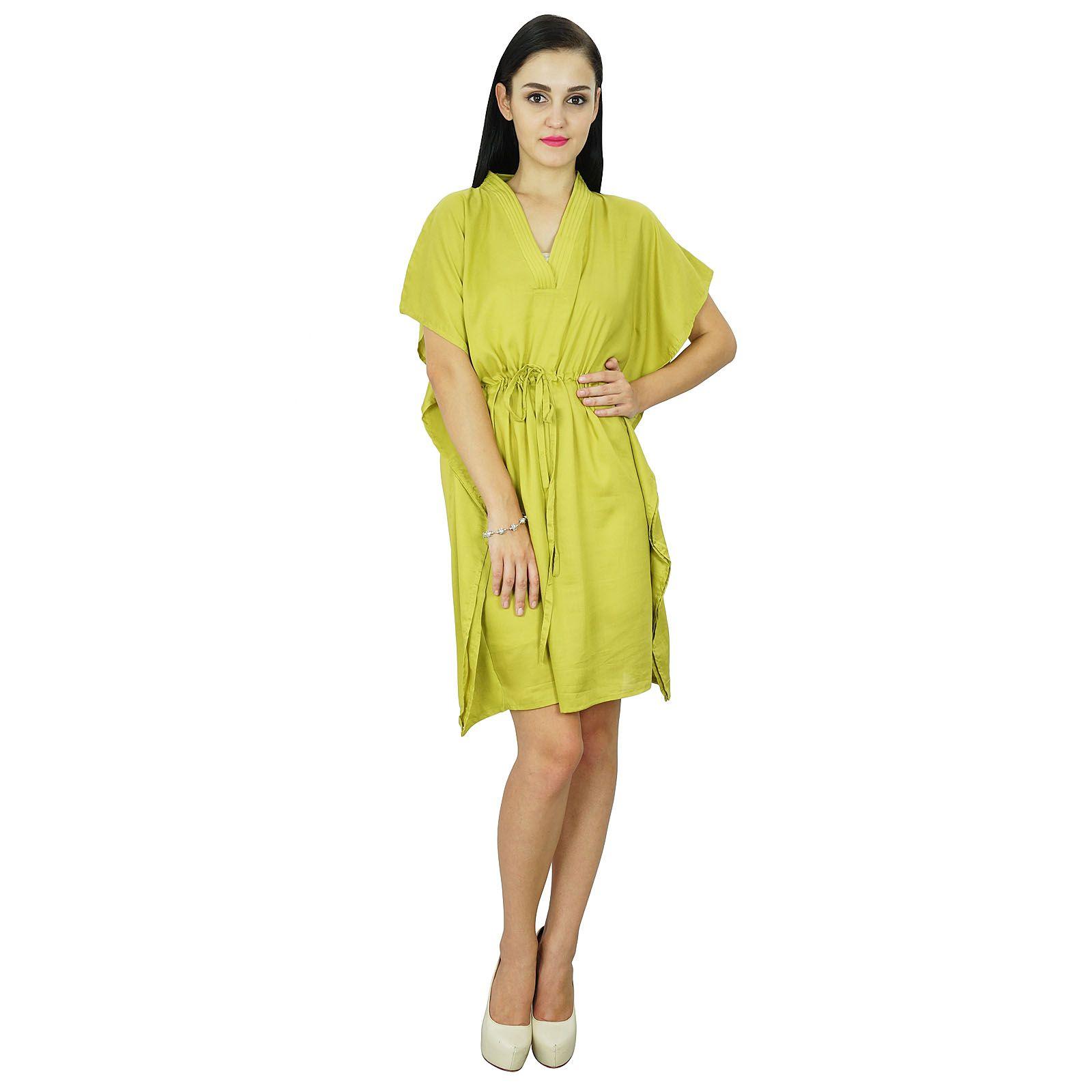 Bimba des femmes de plage robe caftan plaine couvrir caftan solide en coton  vert bc902fb5576