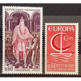 France - Charlemagne 0,60 (N° 1497) + Europa Bateau 0,60 rouge (N° 1491) Neufs** Luxe - Année 1966 - N17200