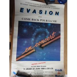 Affiche Concert Evasion Live . Bezons 1989