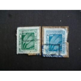 lot de 2 timbres taxe algérie:épis de blés.