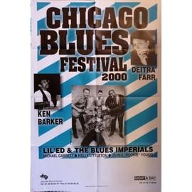 affiche ( format 80X120 cm pliée d'origine ) Chicago blues festival 2000 avec Deitra Farr, Ken Barker, Lil'Ed and the blues imperials