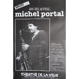 affiche ( format 40X60 cm pliée d'origine ) Michel Portal au théâtre de la ville en 1983, Jazz