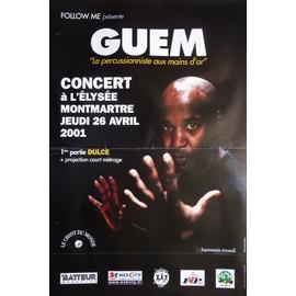 affiche ( format 40X60 cm pliée d'origine ) Guem en concert à l'Elysée Montmartre en 2001