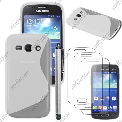 ebestStar ® pour Samsung Galaxy Ace 3 GT-S7270, S7272, S7275 - Housse Etui Coque Silicone Gel Motif S-line Protection Souple Stylet 3 Film Écran, ...