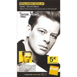 PLV 14x25cm cartonnée rigide BENJAMIN BIOLAY volver / magasins FNAC