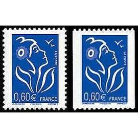 france 2006, très beaux exemplaires yvert 3966 & 3973, marianne de lamouche ou marianne des français, 0,60 ¿ bleu dents 4 côtés (feuille) ou 2 côtés (roulette), neufs** luxe