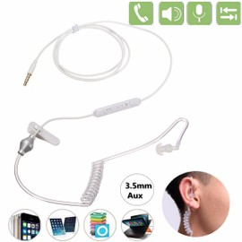 Image 3.5mm Anti Radiation Ecouteur Casque Air Tube Monaural+Mic Pr iPhone 6S Tablette