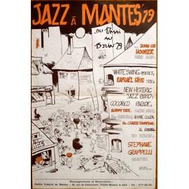 affiche ( format 40X60 cm pliée ) de Jazz à Mantes 79 avec John Lee Hooker, Stephane Grappelli... illustration Guy Bidel