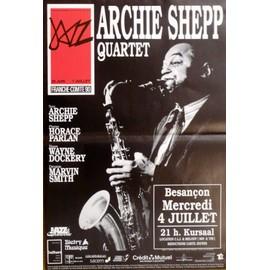 affiche de jazz ( format 30X50 cm pliée en deux ) Archie Sheep quartet, Besançon 1990