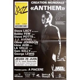 affiche ( format 30X50 cm pliée en deux ) Anthem avec Steve Lacy, Steve Potts, Bobby Few..., Grenoble 1989