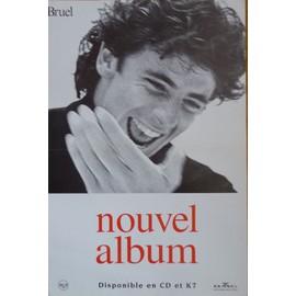 affiche, format 40X60 cm pliée en deux, Patrick Bruel, nouvel album, année 90