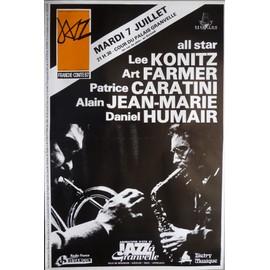 affiche de jazz ( format 40X60 cm pliée en deux ) Lee Konitz, Art Farmer, Patrice Caratini, Alain Jean-Marie, Daniel Humair, Besançon 1987