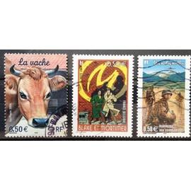 Blake et Mortimer - La Marque Jaune (N° 3669) + Nature de France - La Vache (N° 3664) + Bataille de Diên Biên Phu - Hommage aux Combattants (N° 3667) Obl - France Année 2004 - N17670