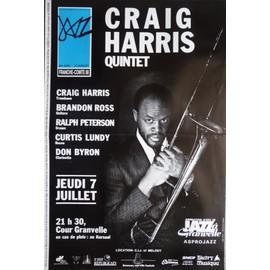 affiche ( format 40X60 cm pliée en deux ) de jazz, Craig Harris quintet, Besançon 1988