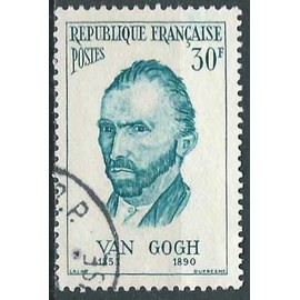 france 1956, bel exemplaire yvert 1087, personnage étrangers, vincent van gogh, oblitéré, TBE