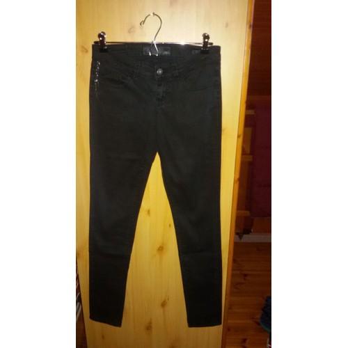 Pantalon <strong>guess</strong> starlet skinny coton 34 noir