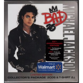Michael JACKSON Bad 25 Walmart Collector's Package 2-CD Set + Bonus T-Shirt