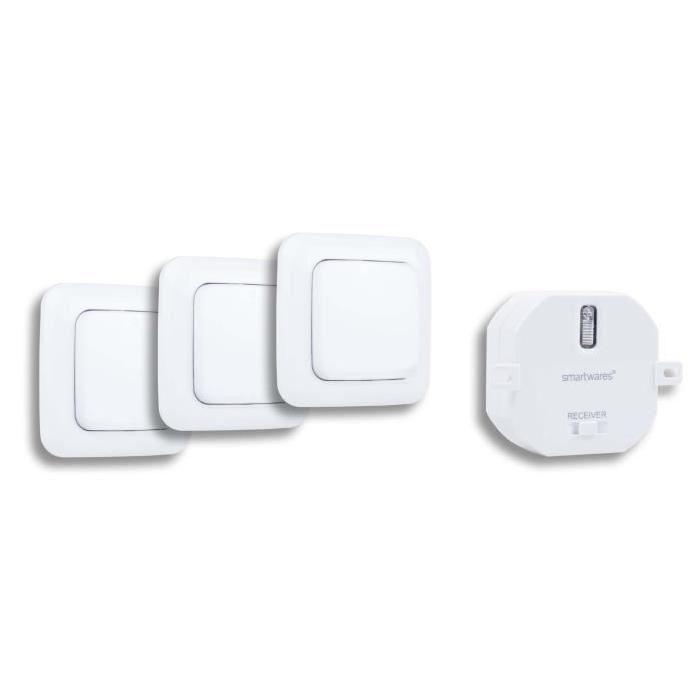 Interrupteur Double et modules encastrables Kit domotique Interrupteur sans Fil Smartwares Plug /& Connect