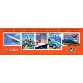 france 2002, très belle bande yvert 3471A, le siècle au fil du timbre - transports, timbres 3471 3472 3473 3474 3475, concorde, mobylette, paquebot france, la 2cv, le Tgv... neuf** luxe