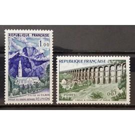Viaduc de Chaumont - Haute Marne 0,85 (N° 1240) + Eglise de Cilaos - Massif du Grand Bénard - Réunion 1,00 (N° 1241) Neufs** Luxe - Cote 6,00€ - France Année 1960 - N18416