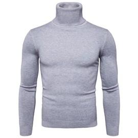 dc582459c31 Pull Homme En Col Roulé Couleur Unie Sweater Hommes Manche Longue Slim  Pulls Mode Casual Zs300159