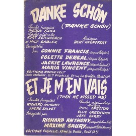 double partition CONNIE FRANCIS COLETTE DEREAL JACKIE LAWRENCE danke schön / RICHARD ANTHONY et je m'en vais