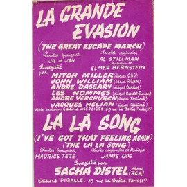 doubLe partition SACHA DISTEL la la song / JOHN WILLIAM ANDRE DASSARY MITCH MILLER LES HOMMES la grande évasion