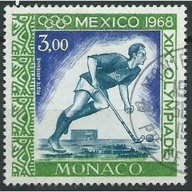 Timbre Monaco Mexico 1968 poste aérienne Hokey n° PA 92