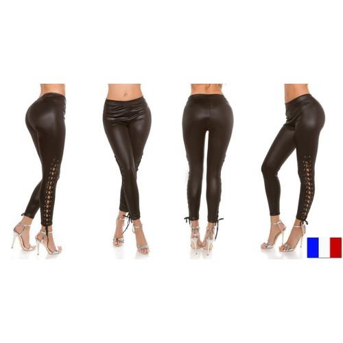 Chaussures femme en cuir synthétique Club Pantalon Skinny Leggings Crayon Résille Lacets Pantalon