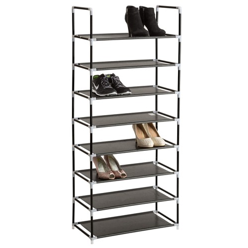 Meuble A chaussures armoire A chaussures Etagère A chaussures 8 Etages modulables 60 cm x 295 cm x 1365 cm noir tectake