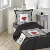Parure Housse De Couette 140 X 200 Cm Modele Coeur Romantique