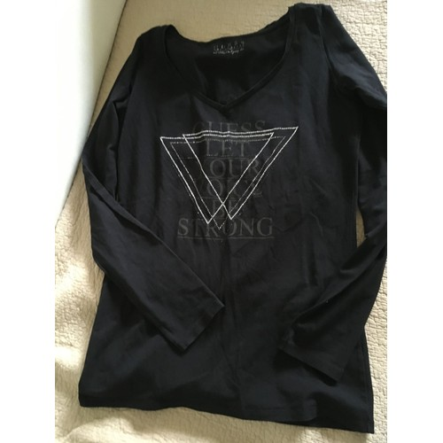 T shirt manches longues noir strass <strong>guess</strong> taille l neuf