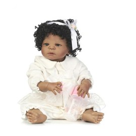 6b6c9561e7c98 Npk Nouveau Design 22 Pouces Noir Peau Bebe Reborn Poupées Vivant Plein Silicone  Reborn Fille Avec