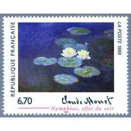 """france 1999, très bel exemplaire neuf** luxe yvert 3247, oeuvre de claude monet """"nymphéas, effet du soir""""."""