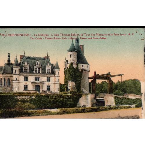 Carte postale de chenonceaux indre et loire le château l39aile thomas bohier la tour des marques et le pont <strong>levis</strong>