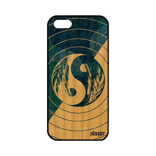 Coque en bois iPhone 5 5S SE silicone Yin et Yang pastel homme garçon TPU Apple iPhone 5 iPhone 5S iPhone SE