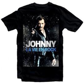 T-Shirt Fan de... Johnny Hallyday la vie en rock - homme noir